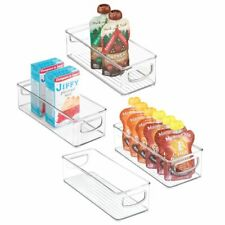 """mDesign Plastic Kitchen Food Storage Bin with Handles, 10"""" Long, 4 Pack - Clear"""