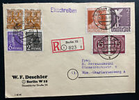 1948 Berlin Germany Postwar Registered Cover Locally Used 2 Marks Stamp