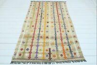 """Vintage Turkish Rug Afion  Kilim Tribal Wool rugs Wool 50""""x79"""" Area rug Carpet"""