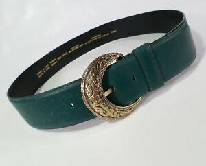 Liz Claiborne Leather Belt Large 36 Full Grain Aniline Green 2464 Vtg