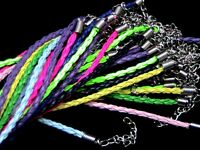 50 Mixed Braided Bracelet Cords Plaited Jewellery Cords & Lobster Clasps T112