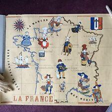 Gouache Peinture Signé Y. LANDAIS 1941 Carte de France Costumes Régionaux