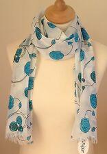 NUEVO 100% % Algodón Mujer Impermeable Estilo Azul Estampado De Rosas Bufanda