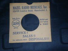 """MAZEL RADIO (MANCHESTER) - BESPOKE RECORD SLEEVE (BLUE) FOR 7"""" SINGLE -VG COND."""