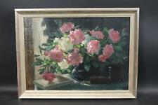 Stillleben mit blühenden Blumen Ölgemälde unleserlich signiert 1918 (BM3558)