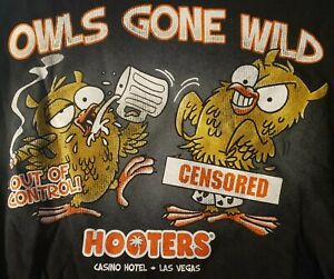 Hooters Las Vegas Casion Black Large T-Shirt Owls Night Out FAST SHIP FROM USA