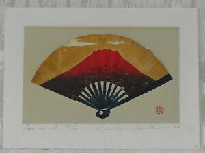 JAPANESE WOODBLOCK PRINT BY KUNIO KANEKO SENSU 23 FAN WITH MOUNT FUJI DESIGN