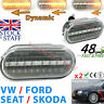 Clear White Oval Side Repeater Indicator Set Pair VW Seat Ford Skoda LED SWEEP