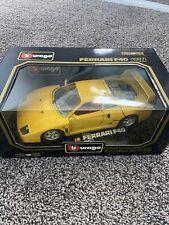BBurago 1987 Ferrari F40 1:18 Scale Diecast #3022 Yellow