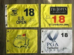 Tiger Woods Slam flags - Masters,2000 US Open Pebble Beach,St.Andrews, Vahalla,