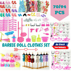 70/94pcs Barbie Doll Clothes Accessories Huge Lot Party Gown Outfits Girl Gift