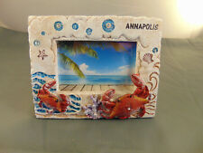 """Picture frame Annapolis Md 6"""" x 7 1/4"""" picture size 3 1/2"""" x 5"""" crabs seashells"""