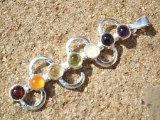 Silver plated kundalini 7 faceted crystal chakra healing pendant