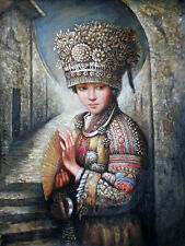 Oil painting nice Chinese young Miao girl national minority holding fan canvas