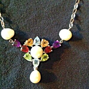 Ross Simons 925 Sterling Silver Pearl Multi Gemstone Necklace
