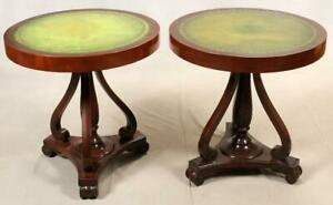 Tables, Round Tooled, Mahogany, Green Leather Top, Pair, Vintage, 1940 C!!