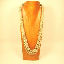 """32"""" Antique Bone Color Handmade Glass Seed Bead LONG Lizzy Bali Design Necklace"""