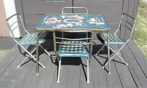 Vintage Metal Childrens Nursery Rhymes & ABCs Fold Up Table w/ 4 Chairs Retro