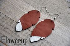 earrings, leaf boho earrings Lightweight real leather brown silver