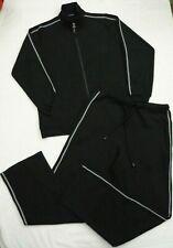 Ladies Black Tracksuit Lounge Suit Wear Sports Sweatshirt Top Pants Set Size Med