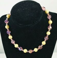 Vintage Pink Crystal Faux Pearl Bead Necklace