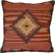 Kilim Cushion Cover Diamond 50cm Wool Jute Indian Persian Moroccan Handmade