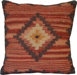 Kilim Cushion Cover Diamond 50cm Wool Jute Indian Persian Moroccan Handmade