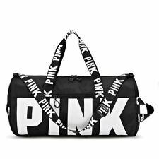 Victoria's Secret Pink Waterproof Nylon Black Duffel Gym Bag