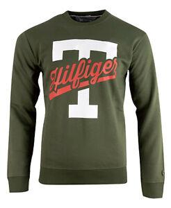 Tommy Hilfiger Denim Unisex Graphic Crew Neck Sweatshirt Long Sleeve - Khaki