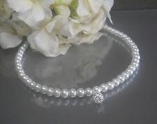 Perlenkette Collier weiß 43cm Shamballa  Straßperle handgefertigt NEU