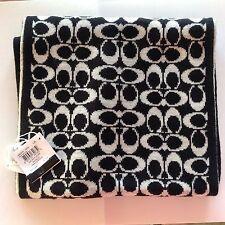 NWT COACH F86019 Black/Pale Grey Signature Logo C Knit Scarf