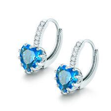 Stunning 18K White Gold Filled Heart Aquamarine Leverback Hoop Earrings