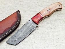 """DAMASCUS STEEL 8.0"""" HANDMADE FULL TANG SKINNING KNIFE - HARD WOOD - WD-6912"""