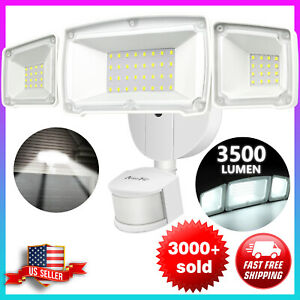 Motion Sensor Outdoor LED Security Flood Lights 35W Ultra Bright 3500LM White AC