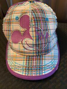 Disney Parks Mickey Mouse Baseball Cap Hat Adjustable Purple Plaid RHINESTONES