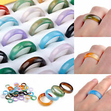 Wholesale Lots Fashion 10pcs Colorful Natural Agate Gemstone Rings Hot Sale