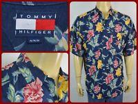 Tommy Hilfiger VTG Navy Blue Multicolor Floral Hawaiian Medium Mens Shirt