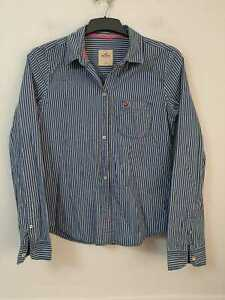 Hollister Blue White Casual Shirt Size Large Womens Long Sleeve (I 296)