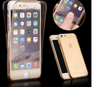 APPLE iPhone 4 / 5 / 6 / 7 / Silicone Two Crystal Phone Case NEW Clear/brown