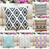 Home Geometric Printed Cotton Linen Pillow Case Waist Throw Cushion Cover Decor