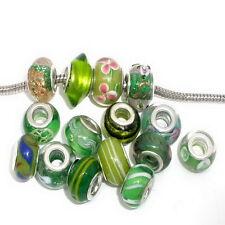 10PCs Mixed Green Glass Lampwork Beads Fits European Charm Bracelet