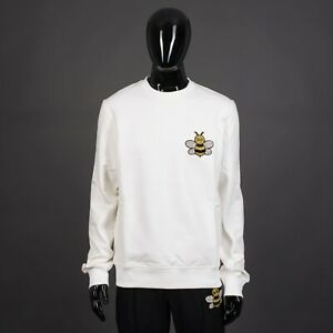 DIOR x KAWS Limited Collaboration Sweatshirt In White Cotton With Bee Embroidery