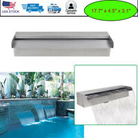 """17.7"""" Waterfall Box Pool Fountain Stainless Steel Water Wall Pool Pond Spillway"""