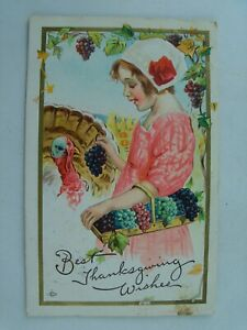 Vintage 1913 Happy Thanksgiving Girl with Turkey Embossed Postcard p663