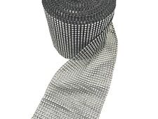 9 Yard 24 Lines Diamante Effect, Rhinestone Mesh Ribbon Black Trim Bridal Craft