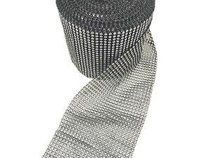 1Yard 24 Lines Diamante Effect, Rhinestone Mesh Ribbon Black Trim Bridal Craft