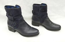 MARKS & SPENCER BLUE LEATHER & SUEDE BIKER STYLE CHELSEA BOOTS UK7 FREE UK P&P!!