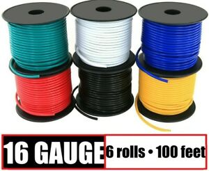 16 Gauge Primary Wire Red Black Yellow Blue White Green - 6 Rolls - 100 Feet EA