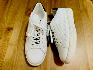 Michael Kors Keating lace up woven leather low top sneaker shoes white NWOB sz 8