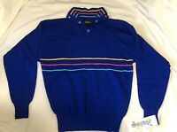 Vintage SLALOM Blue Wool Ski Sweater Womens size Large NWT NEW